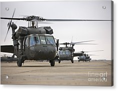 Uh-60 Black Hawks Taxis Acrylic Print by Terry Moore