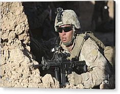 U.s. Marine Provides Security Acrylic Print by Stocktrek Images