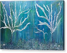 Acrylic Print featuring the painting 3 White Trees by Dolores  Deal