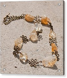 3591 Citrine Nugget And Antiqued Brass Necklace Acrylic Print by Teresa Mucha