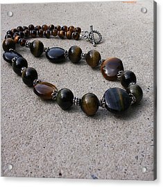 3595 Tigereye And Bali Sterling Silver Necklace Acrylic Print by Teresa Mucha