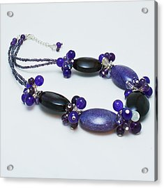 3598 Purple Cracked Agate Necklace Acrylic Print by Teresa Mucha