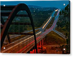 360 Bridge Morning Traffic Acrylic Print by Lisa  Spencer
