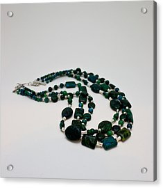 3609 Australian Jasper Triple Strand Necklace Acrylic Print by Teresa Mucha