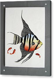 361 Tile With Fishes Acrylic Print by Wilma Manhardt