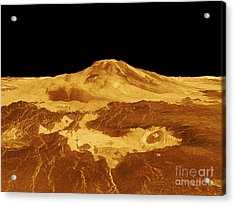 3d Perspective View Of Maat Mons Acrylic Print by Stocktrek Images
