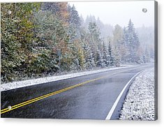 Fall Color And Snow Along The Highland Scenic Highway Acrylic Print by Thomas R Fletcher