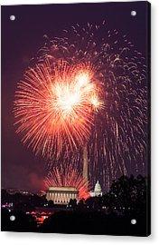 Fireworks Over Washington Dc On July 4th Acrylic Print by Steven Heap