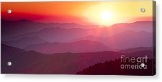 Great Smokie Mountains Sunset Acrylic Print by Dustin K Ryan
