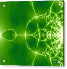 Green Fractal Acrylic Print by Odon Czintos