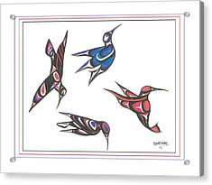 4 Hummingbirds Acrylic Print by Speakthunder Berry