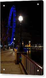 London Eye Night View Acrylic Print by David Pyatt