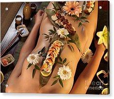 Nyotaimori Body Sushi Acrylic Print by Oleksiy Maksymenko