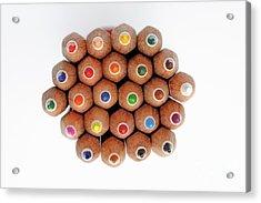 Row Of Colorful Crayons Acrylic Print by Sami Sarkis