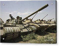 Russian T-54 And T-55 Main Battle Tanks Acrylic Print by Terry Moore