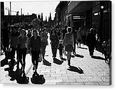 Shoppers And Tourists On Princes Street Edinburgh Scotland Uk United Kingdom Acrylic Print by Joe Fox
