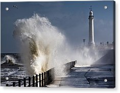 Waves Crashing By Lighthouse At Acrylic Print by John Short