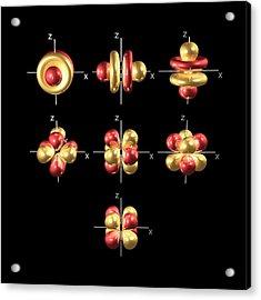 4f Electron Orbitals, Cubic Set Acrylic Print by Dr Mark J. Winter