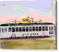 Acrylic Print featuring the mixed media 4th Street Diner by Charles Shoup