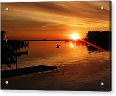 Bay Sunset Acrylic Print by Mary McCusker
