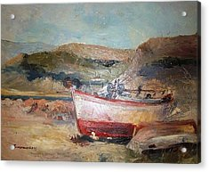 Boats Acrylic Print by George Siaba