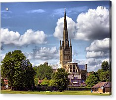 Norwich Cathedral Norfolk England Acrylic Print by Darren Burroughs