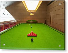Snooker Room Acrylic Print by Guang Ho Zhu