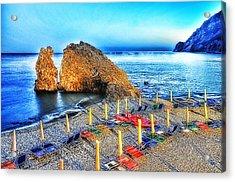Acrylic Print featuring the mixed media 5 Terre Monterosso Beach Umbrellas In Passeggiate A Levante by Enrico Pelos