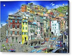 Acrylic Print featuring the mixed media 5 Terre Riomaggiore Landscape In Passeggiate A Levante by Enrico Pelos