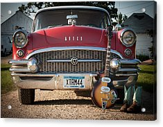 55 Buick Special With 1957 Magnatone Mark V Guitar Acrylic Print by Toni Thomas