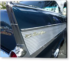 57 Chevy Bel Air Hardtop Back Fender View Acrylic Print by Kerry Browne