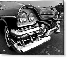 58 Plymouth Fury Black And White Acrylic Print