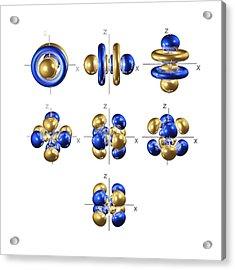 5f Electron Orbitals, Cubic Set Acrylic Print by Dr Mark J. Winter