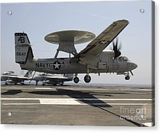 An E-2c Hawkeye Lands Aboard Acrylic Print by Stocktrek Images