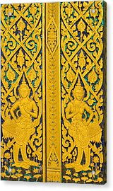 Antique Thai Temple Mural Patterns Acrylic Print by Kanoksak Detboon
