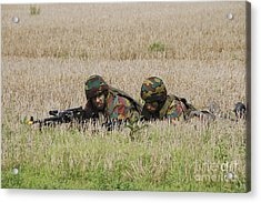 Belgian Paratroopers On Guard Acrylic Print by Luc De Jaeger