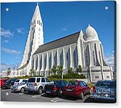 Hallgrimskirkja Church - Reykjavik Iceland  Acrylic Print by Gregory Dyer
