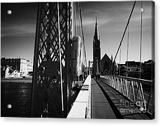 Pedestrian Suspension Footbridge The Greig Street Bridge Over The River Ness Inverness Highland Scot Acrylic Print by Joe Fox