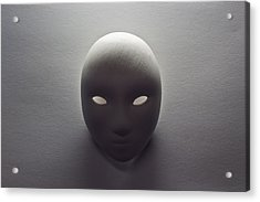 Plaster Mask In Studio Acrylic Print by Kantapong Phatichowwat