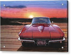 Acrylic Print featuring the painting '67 Corvette Sunset by Rod Seel