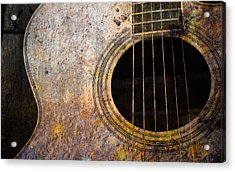 Old Guitar Acrylic Print by Nattapon Wongwean