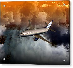 Acrylic Print featuring the digital art 737 Ua 20x16 01 by Mike Ray
