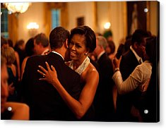 President And Michelle Obama Dance Acrylic Print by Everett