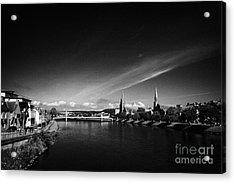 River Ness Flowing Through Inverness City Highland Scotland Uk Acrylic Print by Joe Fox