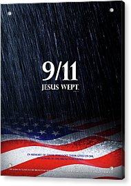 Acrylic Print featuring the mixed media 9-11 Jesus Wept by Shevon Johnson