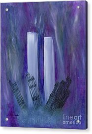 Acrylic Print featuring the painting 9-11 Remembering by Judy Filarecki