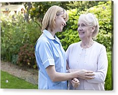 Nurse On A Home Visit Acrylic Print by