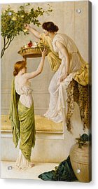 A Basket Of Roses - Grecian Girls Acrylic Print by Henry Thomas Schaefer