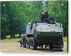 A Belgian Army Piranha IIic With The Fn Acrylic Print by Luc De Jaeger