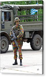 A Belgian Infantry Soldier Handling Acrylic Print by Luc De Jaeger